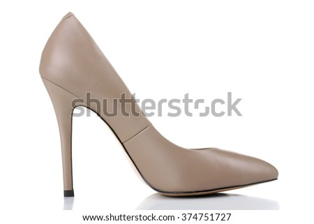new women's shoes with high heel isolated on white background