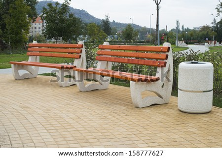 New wooden benches in a park