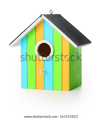 New wooden bird box, isolated on white background