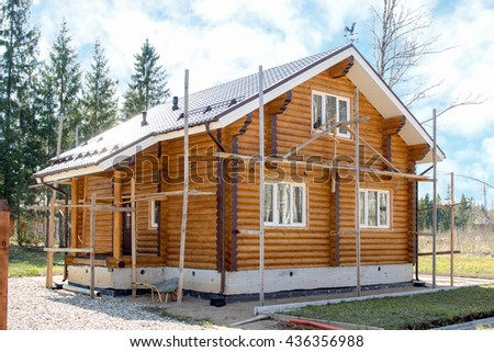 new wooden country house in the forest