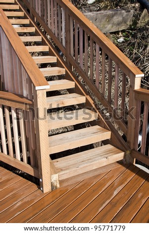 new wooden deck and stairs on the beach