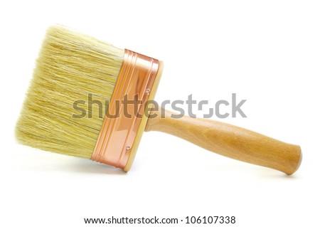 New Wooden Paintbrush - stock photo