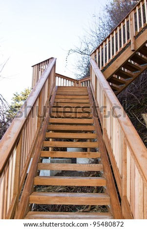 new wooden  stairs on the beach - stock photo