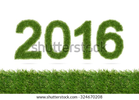 New year 2016 - Abstract alphabet number of green grass isolated on white with green grass texture background. - stock photo