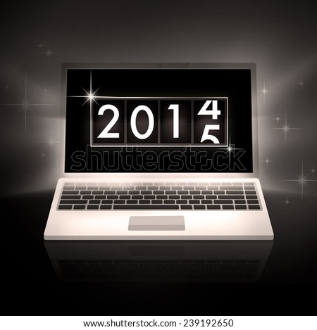 New Year 2014 analog countdown counter board with laptop - stock photo