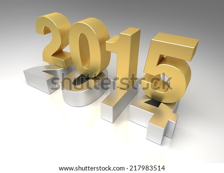 New Year 2015 and 2014 - stock photo