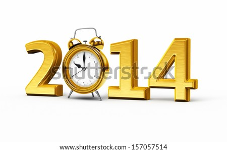 New Year 2014 and Alarm Clock gold render   - stock photo