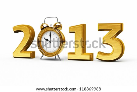 New Year 2013 and Alarm Clock gold render (isolated on white and clipping path) - stock photo