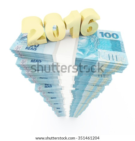 New year 2016 and Brazilian reais stack - stock photo
