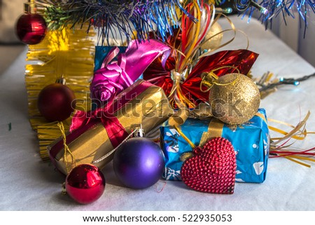 New Year and Christmas gifts Close Up
