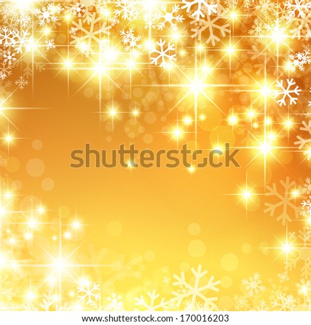 New Year and Christmas Golden Bright Background With Snowflakes and Stars
