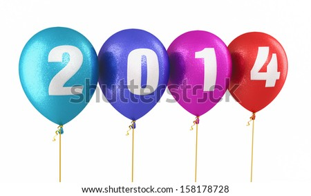 New Year 2014 and colorful balloons render (isolated on white and clipping path)