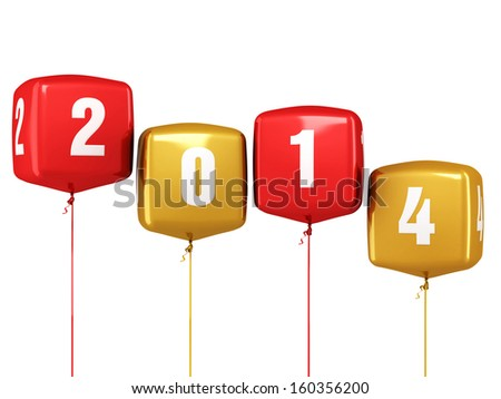 New Year 2014 and colorful cube balloons render (isolated on white and clipping path) - stock photo