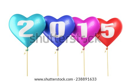 New Year 2015 and colorful heart balloons render (isolated on white and clipping path)