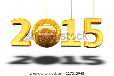 New Year 2015 and disco ball gold render (isolated on white and clipping path) - stock photo