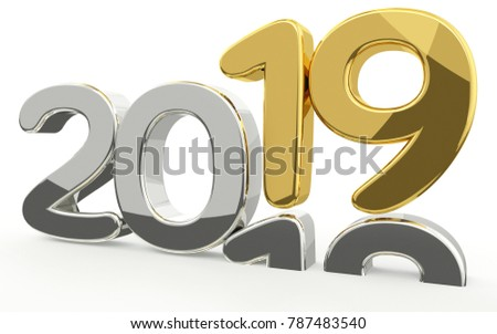 new year 2019 and 2018 golden 3d render