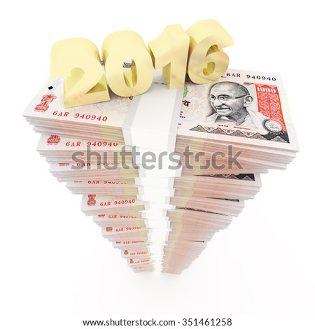 New year 206 and Indian rupee stack - stock photo