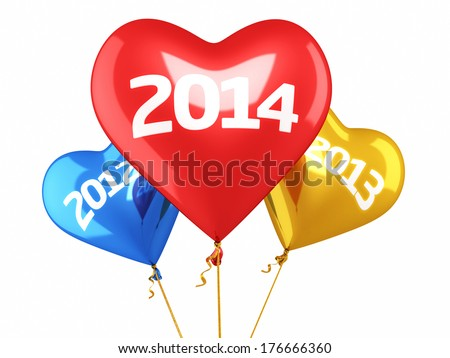 New year 2014 and old years balloon concept (isolated on white and clipping path)