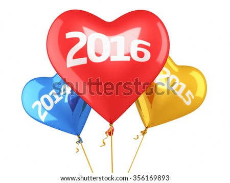 New year 2016 and old years balloon concept (isolated on white and clipping path)