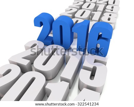 new year 2016 and other years - stock photo