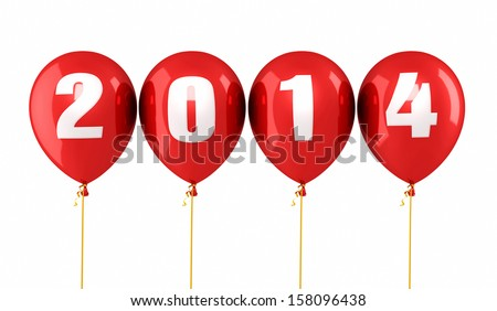 New Year 2014 and red balloons render (isolated on white and clipping path)