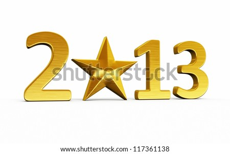 New Year 2013 and star gold render (isolated on white and clipping path) - stock photo