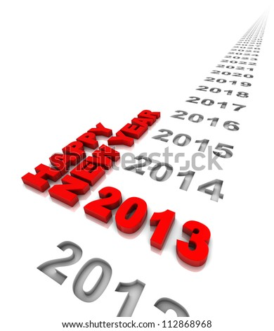 New year 2013 and the years ahead. Part of a series. - stock photo