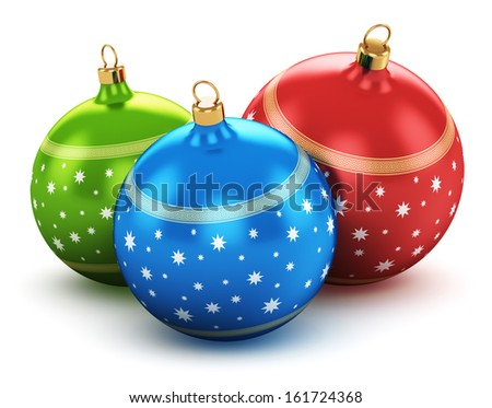 New Year 2014 and Xmas celebration concept: group of color shiny metallic glass Christmas balls with colorful star decoration ornament design isolated on white background with reflection effect - stock photo