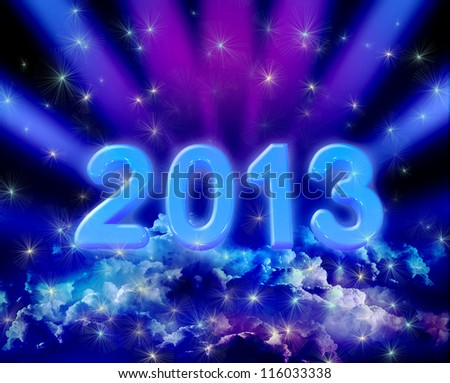 New year background of space and colorful clouds with stars