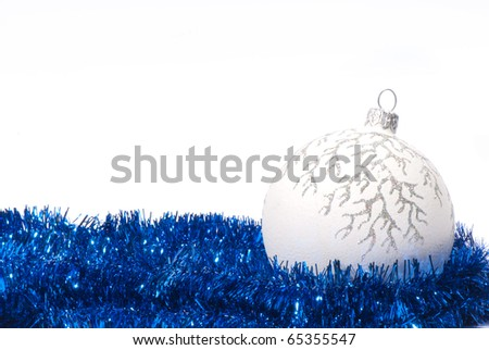 New year background of tinsel and balls - stock photo