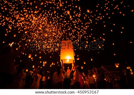 New year balloon lantern yeepeng traditional at night , Thailand festival