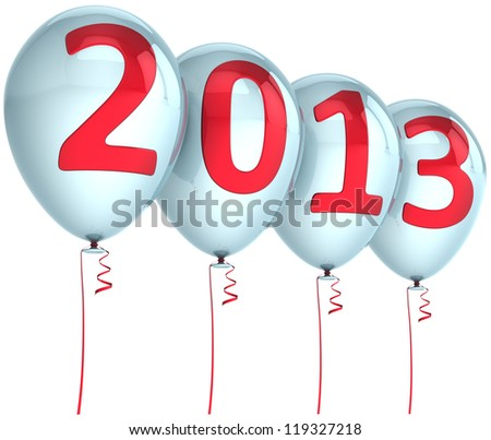 New Year 2013 balloons holiday party decoration. White helium balloon with red text. Future calendar date. Detailed 3d render. Isolated on white background