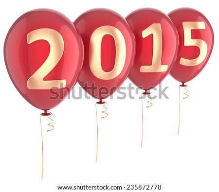 New Year 2015 balloons party holiday decoration. Winter celebration helium balloon. Future beginning calendar date greeting card banner design element. 3d render isolated on white background - stock photo