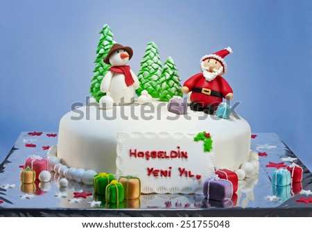 New year birthday cake (Welcome new year) - stock photo
