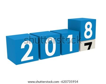 New year 2018 blocks in blue, 3D rendering
