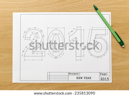 new year blueprint - stock photo