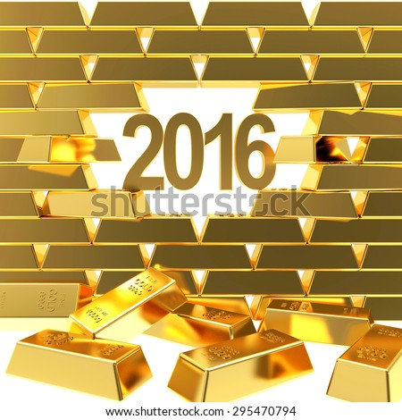 New Year 2016 breaking through wall of golden bullions. Business and Financial Concept - stock photo