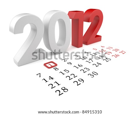 New year 2012. Calendar 3d illustration isolated