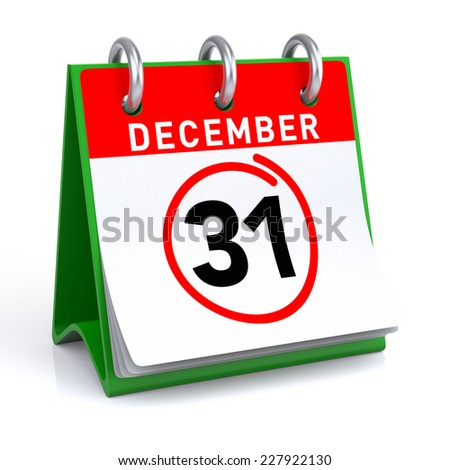 New Year Calendar. 3D illustration of a calendar on a white floor/background with icon. - stock photo
