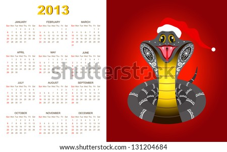 New Year Calendar for 2013 year with smiled snake - stock photo