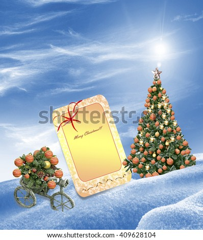 New Year card. Christmas tree decorated with colorful toys. - stock photo