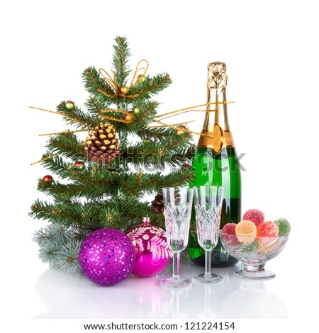 New Year Card Design with Champagne. Christmas Scene. Celebration. - stock photo