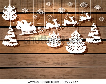 New year card for holiday design with Santa Claus in sleigh