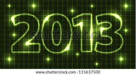 New Year card 2013 made from green neon tubes - stock photo