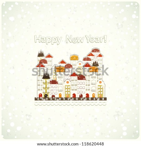 New Year card - snow and small white town - JPEG version