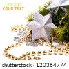 New year card with beautiful star, fur tree and place for text - stock photo