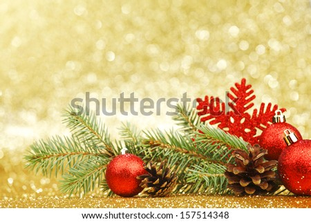 New year card with fir branch and decoration