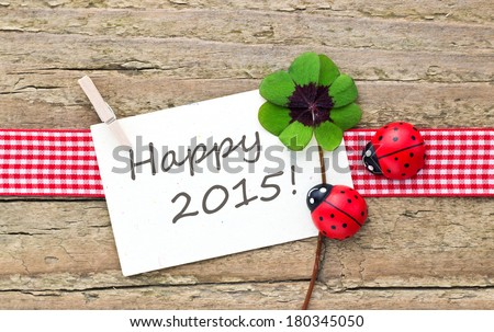new year card with leafed clover and ladybugs/happy 2015/english - stock photo
