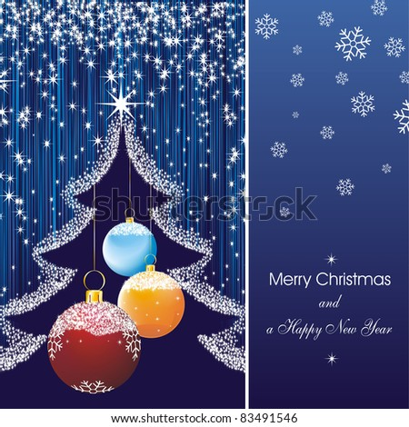 new year card with stars in blue and fir silhouette and color christmas decorations