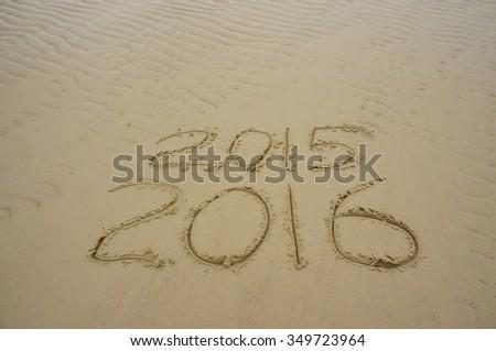 New year 2016 celebration at the beach - stock photo